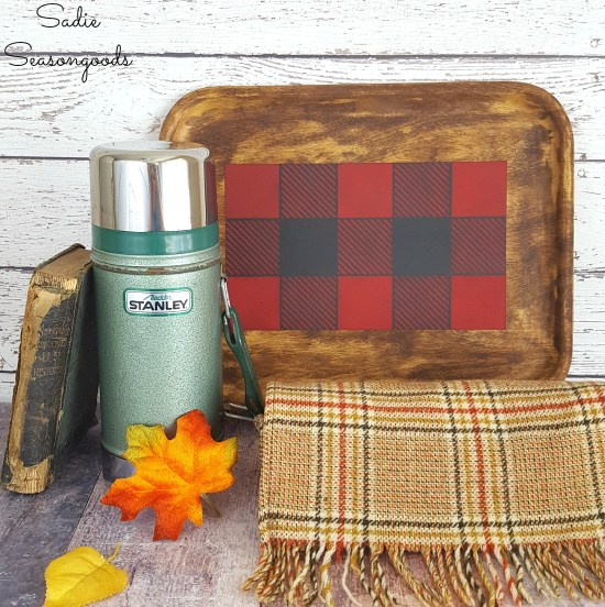 Buffalo check decor and rustic cabin decor with an upcycling idea for a wood tray from the thrift store by Sadie Seasongoods