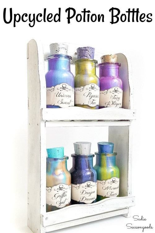 Harry Potter Halloween decorations with DIY Potion Bottles