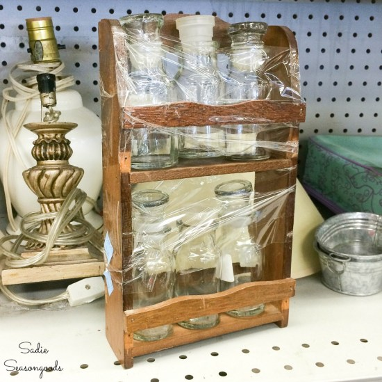 Vintage spice rack at a thrift store