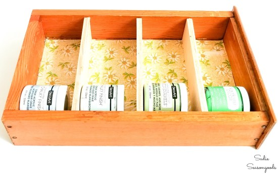 Upcycling the wooden drawers as craft paint storage