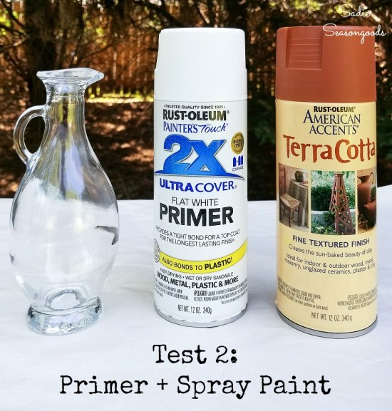 How to paint glass with primer and terracotta spray paint