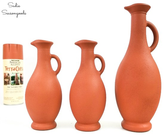 Painting glass with a terracotta paint color for southwestern decor