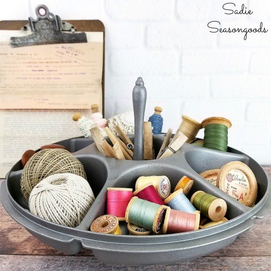 Hardware organizer and parts bins for Craft Storage by upcycling a Tupperware serving center