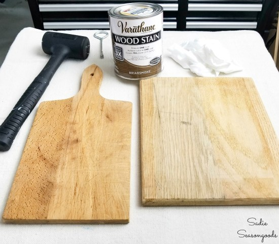 Cutting boards from the thrift store for a vintage farmhouse kitchen