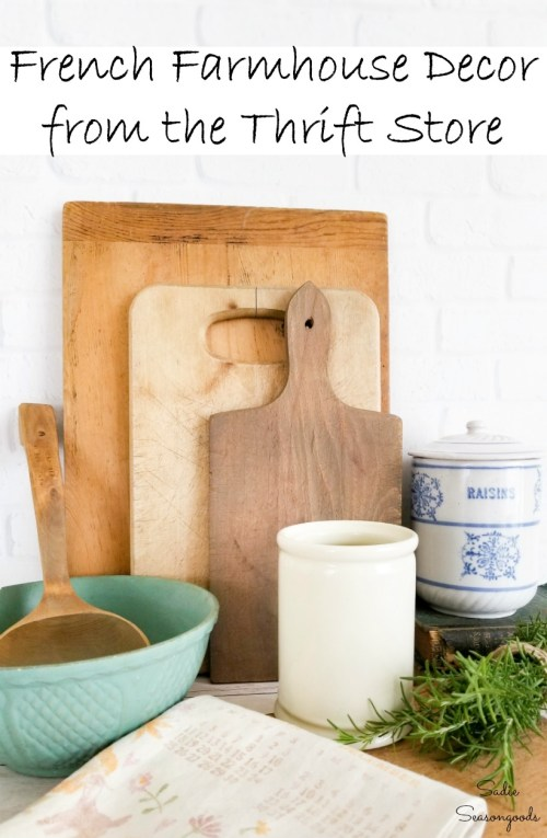 French farmhouse decor with accessories from a thrift shop