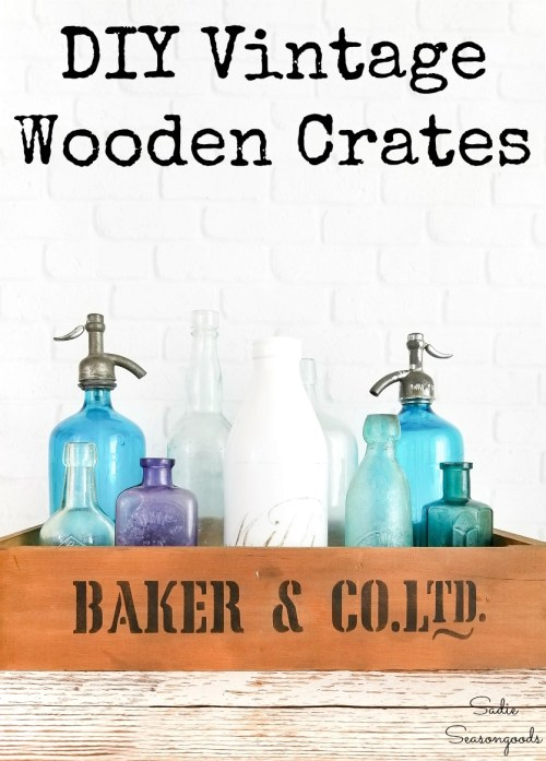 Antique wooden crates with kitchen drawers from Habitat ReStore