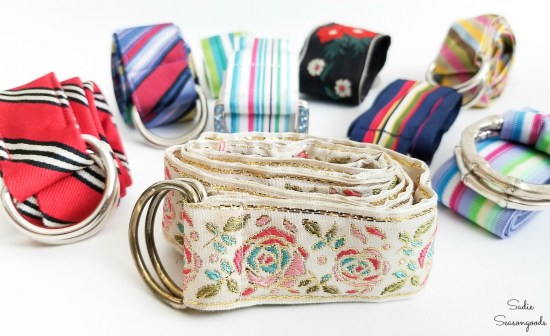 Ribbon belts and fabric belts that can be used to create the thrifted style