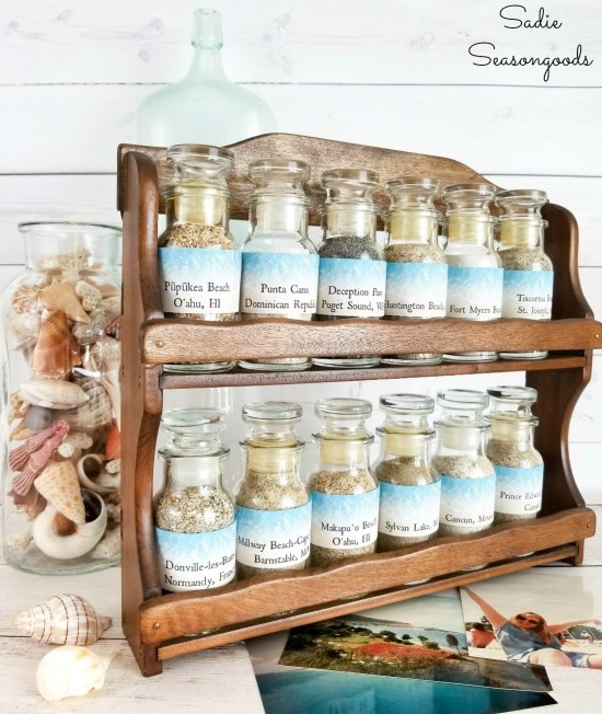 Sand collection display for beach souvenirs
