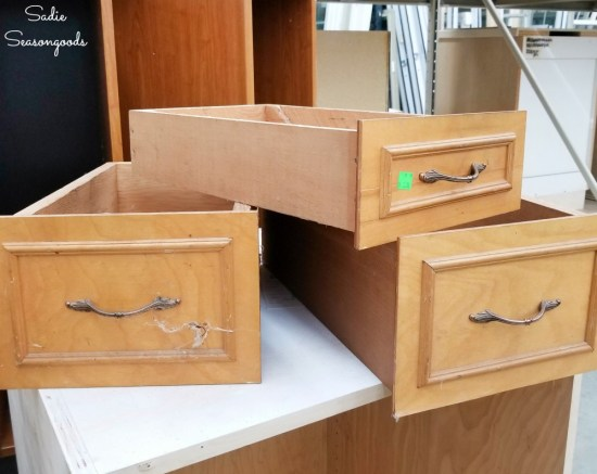 Wooden drawers at a thrift store