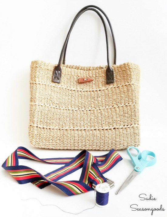 Woven tote bag to be decorated with a ribbon belt for unique accessories