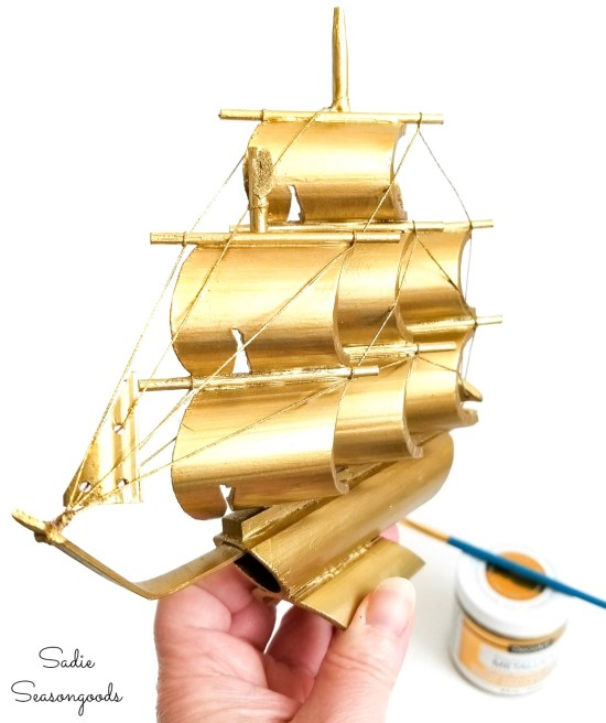 Painting a bamboo ship with brass colored paint