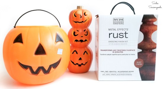 Rust effect paint to use on the plastic pumpkins