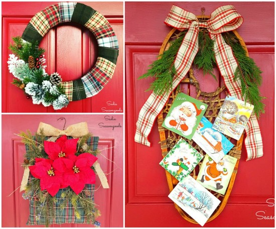 Upcycled and repurposed Christmas wreath craft projects as front door decorations by Sadie Seasongoods / www.sadieseasongoods.com