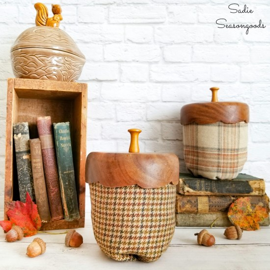 Decorative acorns from a tweed sport coat