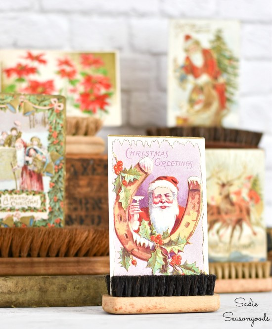 How to display the vintage Christmas cards or Victorian postcards with scrub brushes or shoe shine brushes