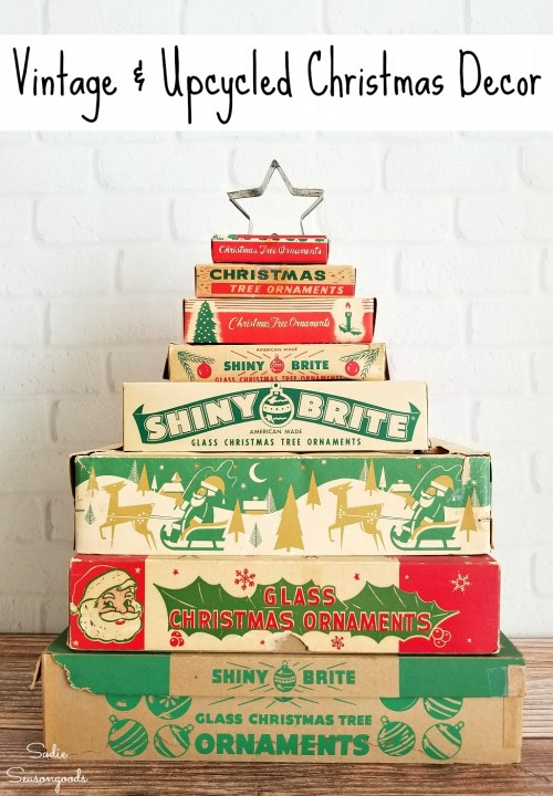 Vintage Christmas Decor Ideas and Upcycled Christmas Decor Ideas such as stacked ornament boxes - compiled by Sadie Seasongoods / www.sadieseasongoods.com