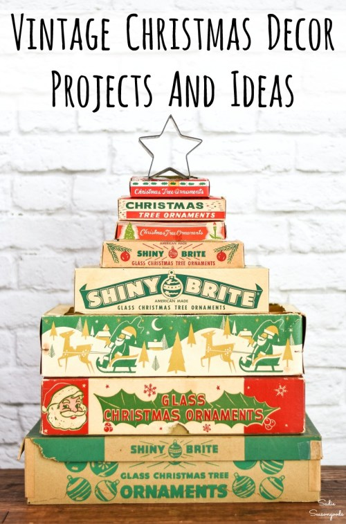 Upcycling ideas and vintage Christmas decorations for Christmas home decor
