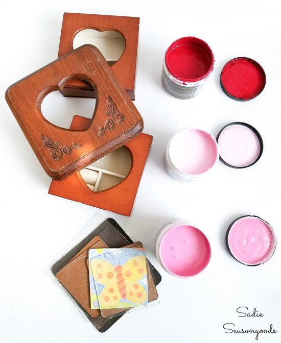 Pink latex paint and red latex paint for upcycling the mini jewelry boxes for Valentine's Day