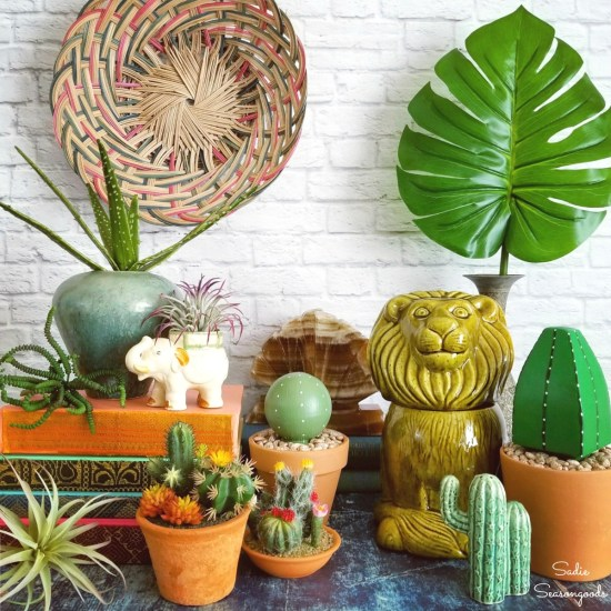 Thrift store shopping for boho decor and bohemian style decor with upcycled crafts and fake cactus plants