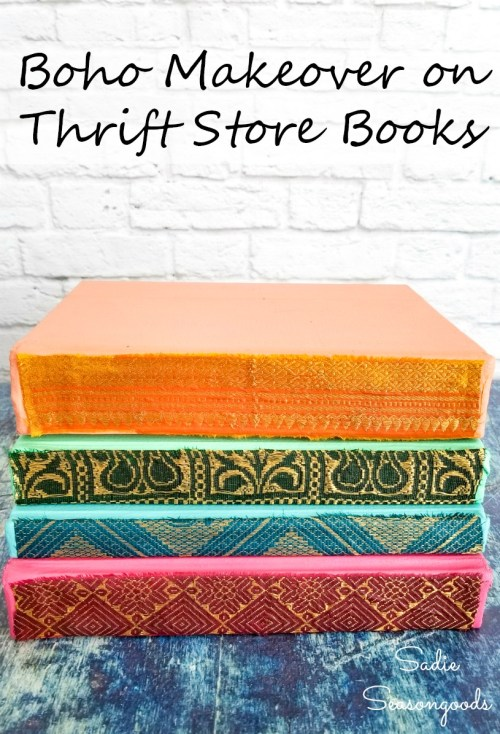 Upcycling idea for thrift store books with bohemian style