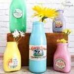 Milk Caps on Vintage Milk Bottles as Spring Decor