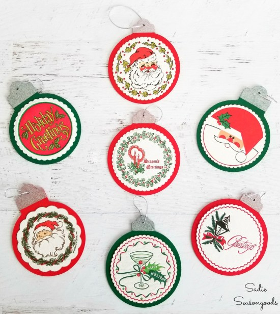 Retro Christmas Ornaments with paper coasters that have been decoupaged on wood cutouts