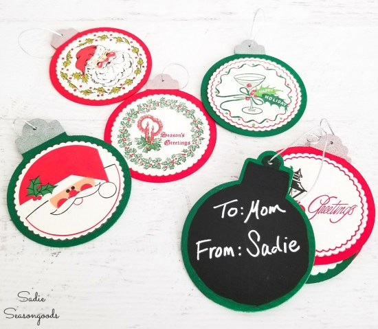 Wood ornaments as gift tags or chalkboard label or retro Christmas ornaments