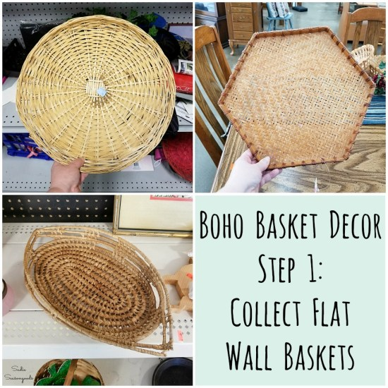 Flat wall baskets from the thrift store for upcycling into basket wall decor with Bohemian design