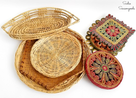 Upcycling some baskets from the thrift store into a Boho gallery wall with woven trivets