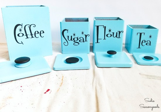Mid century modern font on retro canisters and aqua kitchen decor