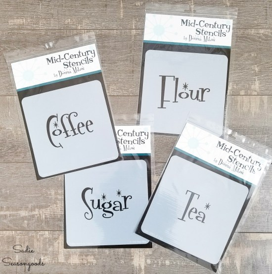 Mid century modern stencils to use on the tea and coffee canisters