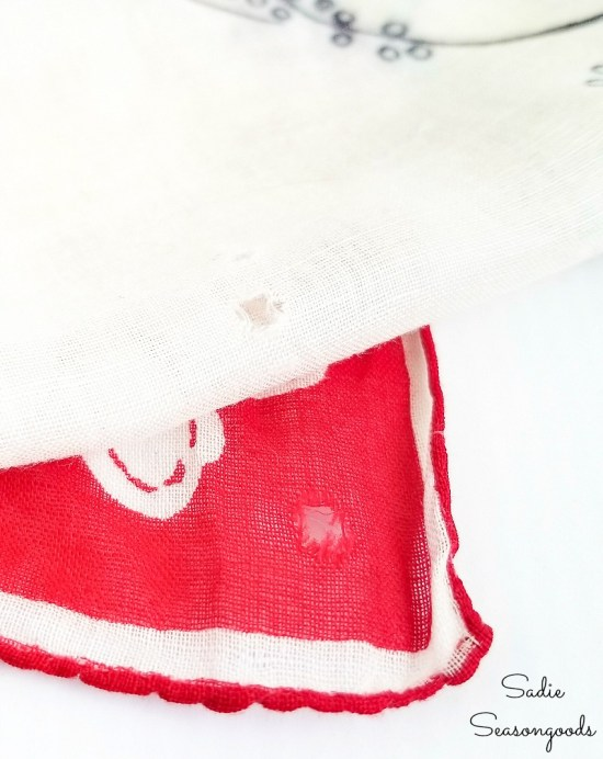 Ladies handkerchiefs that have holes are ideal for upcycling ideas
