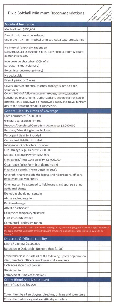 Dixie Softball insurance checklist