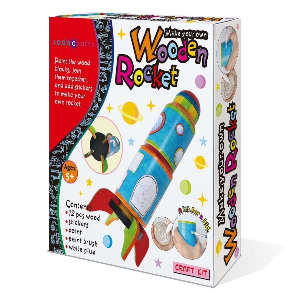 SadoCrafts Paint Your Own Rocket - Fun Interactive DIY Educational Wood Craft Kit For Kids