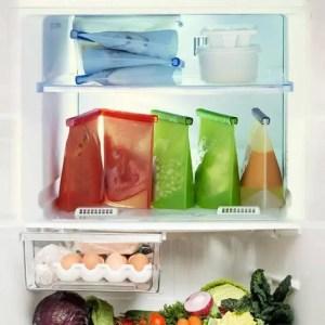 FREE SHIPPING 4PCS 1000ml Kitchen Reusable Refrigerator Fresh Food Sealing Storage Bags 1000ml