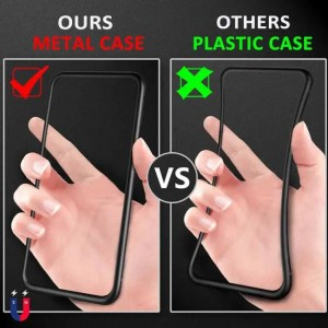 Phone Cases Metal Magnetic Case For iPhone Models+Tempered Glass Back Magnet Cases Cover Case