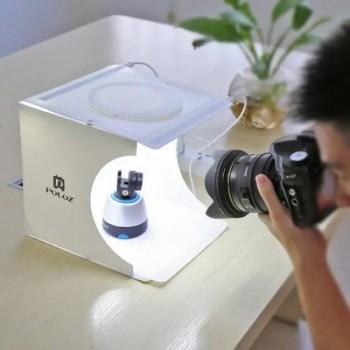FREE SHIPPING 2 LED Panels Mini Folding Studio 8″ Diffuse Soft Box Lightbox with Black White Photography Background Photo Studio box [tag]