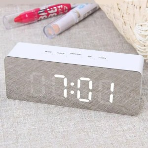Clock Multi-function Digital Mirror LED Alarm Clock Thermometer Lamp Alarm