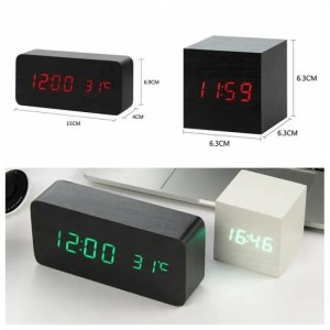 Clock LED Wooden Alarm Clock Voice Control Digital Electronic USB/AAA Powered Decorative Alarm