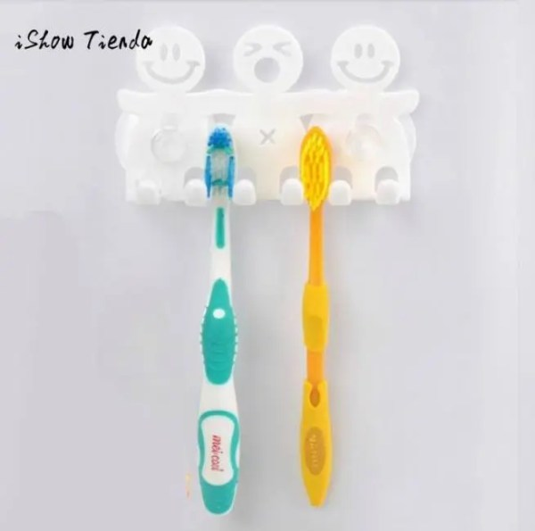FREE SHIPPING Cartoon Smile Face Suction 5 Position Toothbrush Holder Eco-Friendly 5 Position