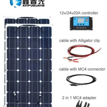 FREE SHIPPING 200W Mono-crystalline Solar Panels DIY with 20A Charger Controller 12v or 24v and Cables Kit 12V