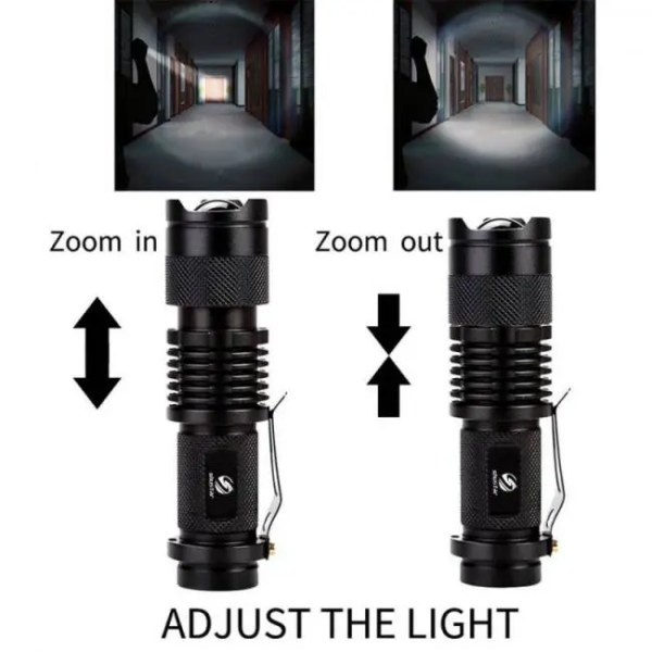 Flashlights & Lightings LFL-7  T6 or Q5 LED TorchAluminum alloy Zoomable Tactical Defense Flashlight up to 2000 lumens Battery