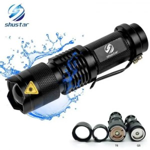 Flashlights & Lightings LFL-7  T6 or Q5 LED Torch Aluminum alloy Zoomable Tactical Defense Flashlight up to 2000 lumens Battery