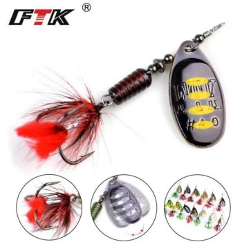 FREE SHIPPING FTK 1Pcs Mepps Spinner Bait 7.5g 12g 17.5g Spoon Lures Metal Fishing Lure Bass Hard Bait With Feather Treble Hooks  13 colors 2019