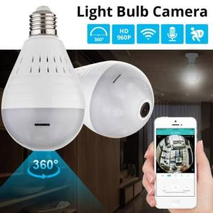 FREE SHIPPING KERUI LED Light 960P Wireless Panoramic Home Security WiFi CCTV Fisheye Bulb Lamp IP Camera 360 Degree Home Security Burglar camera