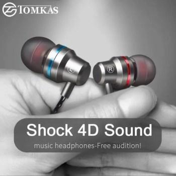 FREE SHIPPING Tomkas In-ear Earphone For Mobile Phone Earphones 5 Colors 3.5mm In Ear Sport Micro Earphone For iPhone Xiaomi With Mic Free shipping