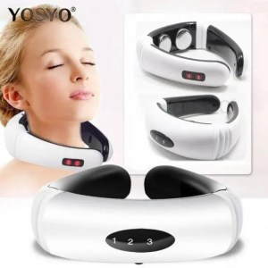 FREE SHIPPING Portable Electric Pulse Back and Neck Massager Far Infrared Heating Pain Relief Tool Health Care Relaxation back