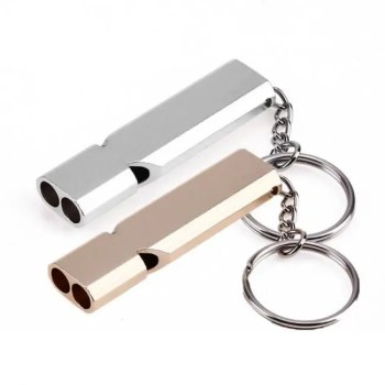 FREE SHIPPING Mini Portable 150db Double Pipe High Decibel Outdoor Camping Hiking Survival Whistle Double-frequency Emergency Whistle Keychain 150db