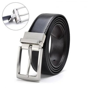 FREE SHIPPING Revolvable Buckle Belts For Men Formal Business Genuine Leather Belt With Double Side Black Dark Brown Yellow Brown 3.5 CM Belts Belts