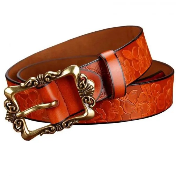 FREE SHIPPING Fashion Wide Genuine leather belts for women Vintage Floral Pin buckle Woman belt High quality Second Layer Cowskin jeans strap Belt